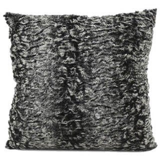 Mina Victory Faux Fur Grey 18-inch Throw Pillow
