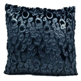 Mina Victory Faux Fur Black Patterned 18-inch Throw Pillow