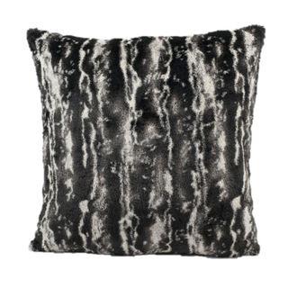 Mina Victory Faux Fur Black/ Silver 18-inch Throw Pillow