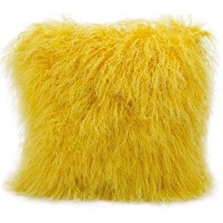 Mina Victory Genuine Fur Yellow 16-inch Throw Pillow