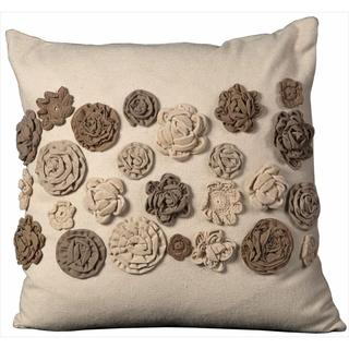 Mina Victory Felt Sewn Flowers Throw Pillow (20 x 20 inches)