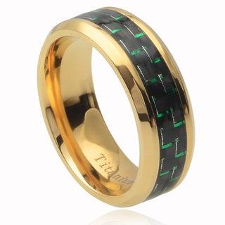 Vance Co. Men's Titanium Green Carbon Fiber Inlay Band (8 mm)