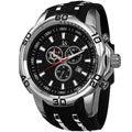 Joshua & Sons Men's Oversized Bold Swiss Quartz Chronograph Date Silicone Strap Watch