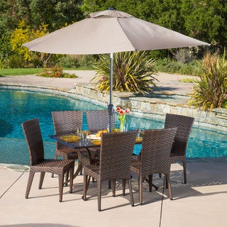 Christopher Knight Home Brooke Rectangular Outdoor Cast and Wicker 7-piece Set