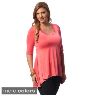 24/7 Comfort Apparel Women's Plus Size Solid High-low Tunic