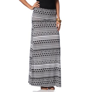 Hadari Women's Black/ White Tribal Print Maxi Skirt