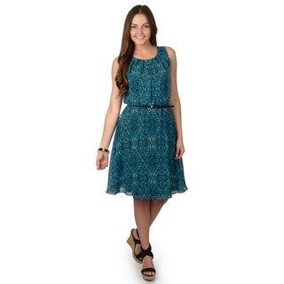 Calvin Klein Women's Sleeveless Belted Blouson Dress