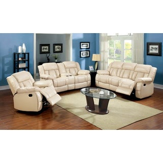 Furniture of America Barbz 2-Piece Bonded Leather Recliner Sofa and Loveseat Set, Ivory