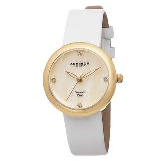 Akribos XXIV Women's Swiss Quartz Mother of Pearl Diamond Strap Watch
