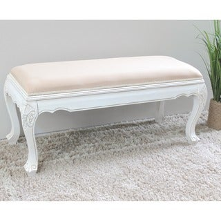 International Caravan 'Windsor' Hand-carved Upholstered Antique White Wood Occasional Bench