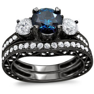 Noori 18k Black Gold 2 7/8ct TDW Blue and White Round Diamond Bridal Ring Set (SI1-I2)