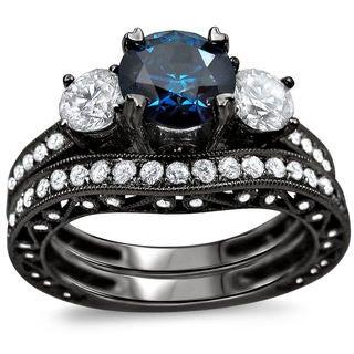 18k Black Gold 2 7/8ct TDW Blue and White Round Diamond Bridal Ring Set (SI1-I2)