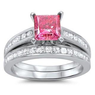 Noori 14k White Gold 2 1/10ct Pink and White Princess-cut Diamond Bridal Ring Set (G-H, SI1-SI2)