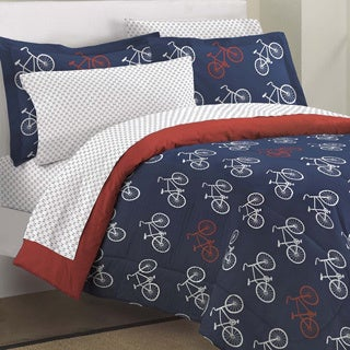 Bicycles 7-piece Bed in a Bag with Sheet Set