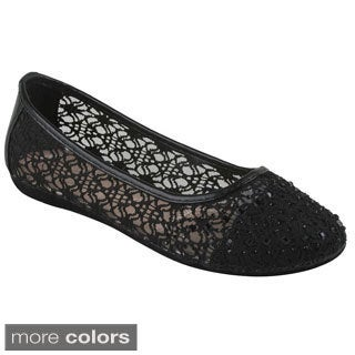 Bolaro Women's Fabric Mesh Slip-on Ballet Flats