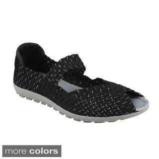 Bolaro Women's Woven Elastic Peep-toe Mary Jane Casual Flats