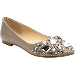 Women's Beston Julia-75 Pointed Flats Taupe Faux Leather