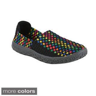 Italina Women's Woven Elastic Slip-on Comfort Flat Sport Shoes