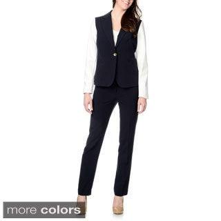 Zac & Rachel Women's Fabric Combo 2-piece Pant Suit