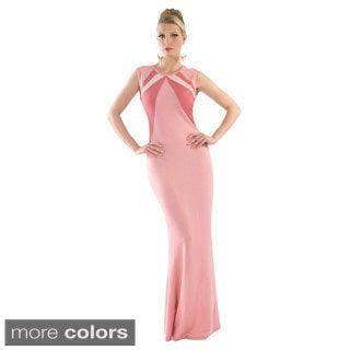 Kayla Tri-tone Full-back Zipper Semi-formal Maxi Dress