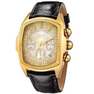 JBW Men's 'Caesar' Goldtone Stainless Steel Black Genuine Leather Diamond Watch