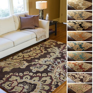 Hand-Tufted Wool Transitional Paisley Area Rug-(5' x 8')