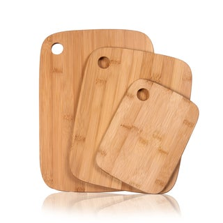 Adeco 3-piece 100-percent Natural Bamboo 0.4-inch Thick Chopping Board Set