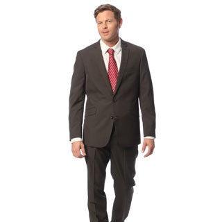 Kenneth Cole Reaction Men's Slim Fit Brown Striped Suit