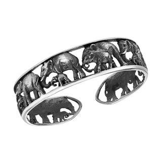 Majestic Elephant Herd Wrap .925 Silver Statement Cuff (Thailand)