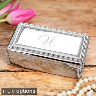 Personalized Beaded Silver Jewelry Box