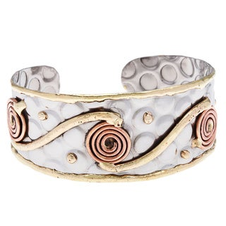 Handmade Stainless Steel Cuff with Copper Coils (India)