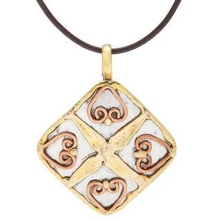 Handmade Stainless Steel 4-hearts Pendant (India)