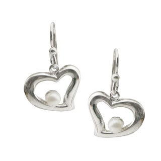 Pearls For You Sterling Silver White Freshwater Pearl Heart Earrings (4-4.5 mm)