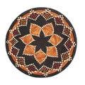 Hand-woven 16-inch Orange/ Black Raffia Basket (Rwanda)