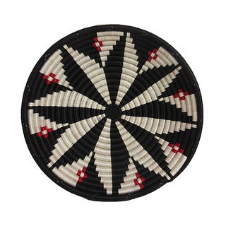 Hand-woven 12-inch Black/ Red Bold and Beautiful Basket (Rwanda)