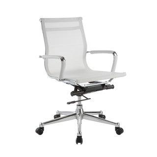 Pantera White Nylon and Chrome Low Back Desk Chair