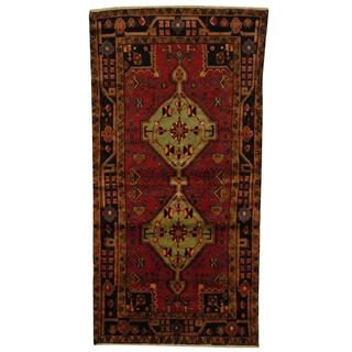 Antique 1970's Persian Hand-knotted Musel Hamadan Red/ Navy Wool Rug (4'5 x 8'8)