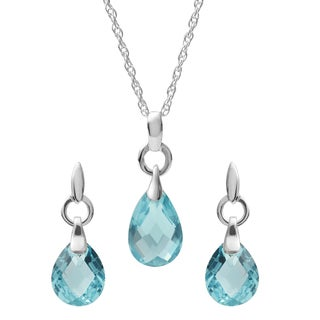 Journee Collection Sterling Silver Cubic Zirconia Tear-drop Jewelry Set