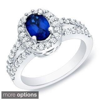 Auriya 14k Gold 3/5ct TDW Sapphire and Diamond Engagement Ring (H-I, SI1-SI2)
