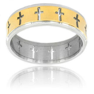 Goldplated Stainless Steel Open Cut-out Cross Ring