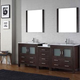 Virtu USA Dior 82 inch Double Sink Vanity Set in Espresso