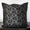 Black Rose Shiny Polyester or Feather Decorative Throw Pillow