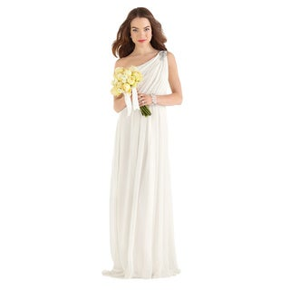 Dessy After Six Bridal Women's One-shoulder Crinkle Chiffon Bridal Gown