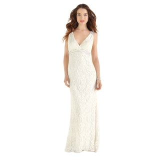 Dessy After Six Bridal Women's Full-length Guipure Lace Bridal Gown