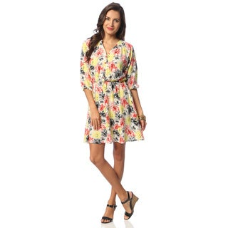 Hadari Women's Open Placket Floral Dress