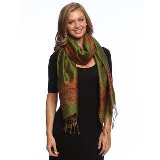 Army Green and Red Reversible Braided Fringe Shawl Wrap