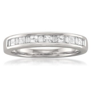 14k White Gold 3/5ct TDW Princess and Baguette Channel Wedding Band (G-H, SI1)