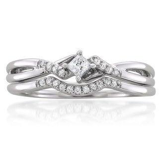 10k White Gold 1/5ct TDW Princess-cut Diamond Bridal Ring Set (G-H, I1)