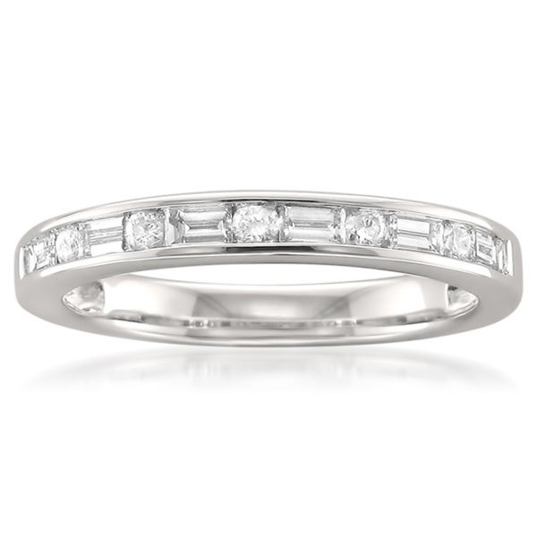 14k White Gold 1/2ct TDW Baguette and Round-cut Diamond Wedding Band (G-H, SI1)