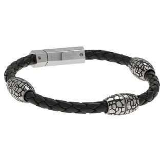Stainless Steel Cobblestone Oval Bead Braided Black Leather Bracelet